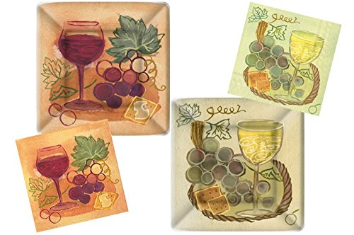 (Wine Theme Party Supplies: Bundle Includes Square Paper Dessert Plates & Napkins for 16 Guests in Napa Valley Red & White Wine Designs)