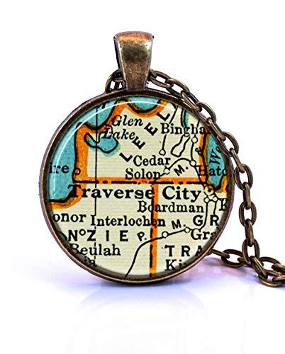 (Pink rose Traverse City, Michigan Map Pendant Necklace, Traverse City Gift, Traverse Jewelry)