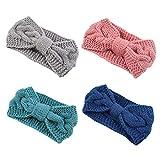 DRESHOW Crochet Turban Headband for Women Warm Bulky Crocheted Headwrap (4 pack knot: gray, green, pink, navy)