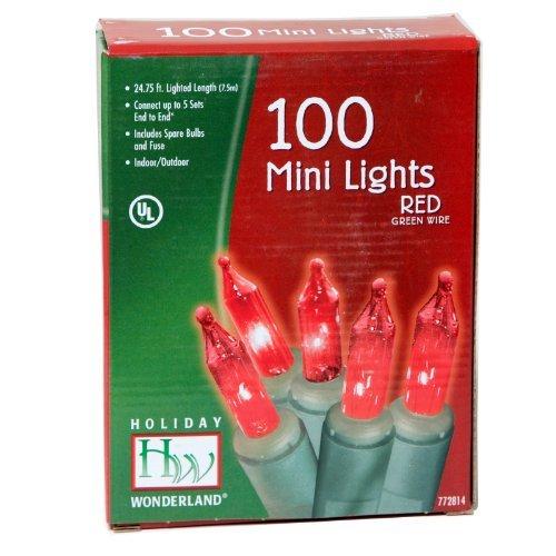 Holiday Wonderland 4003-88 Mini Light Set, Red, 100-count -
