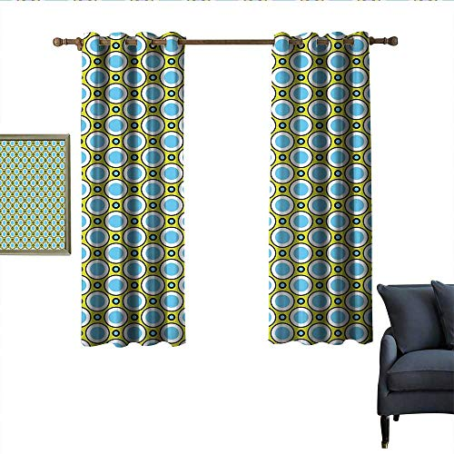 longbuyer Geometric Thermal Insulated Drapes for Kitchen/Bedroom Retro Circles with Dots Round Design Elements Vintage Inspirations Wear Rod 55