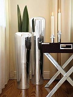 Riesige Designer Vase Wave Alu Silber Xxl 106cm Amazon De Kuche