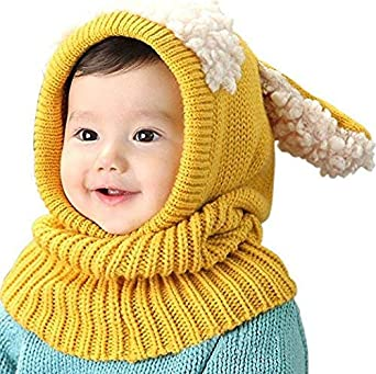 WIKEA Baby Girls Boys Toddler Winter Hat Scarf Set Cutest Earflap Hood Warm Knit Hat Scarves with Ears Snow Neck Warmer Cap for Kids 6-36 Months Pink
