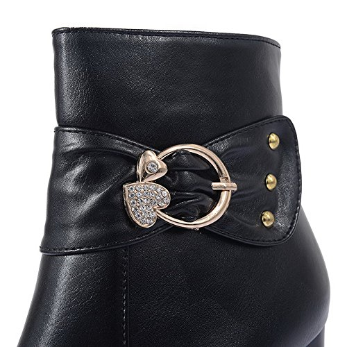 Allhqfashion Dames Pu Blend Materialen Hoge Hakken Laarzen Met Ritsen En Platform Zwart