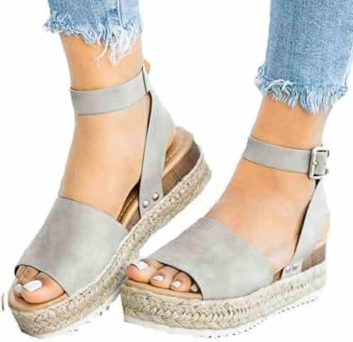 d4c6f8bfc Athlefit Women's Platform Sandals Espadrille Wedge Ankle Strap Studded Open  Toe Sandals