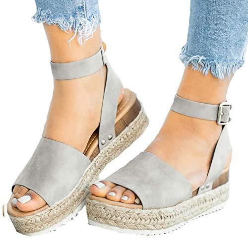 Athlefit Women's Platform Sandals Espadrille Wedge Ankle Strap Studded Open Toe Sandals Size 6 Grey -