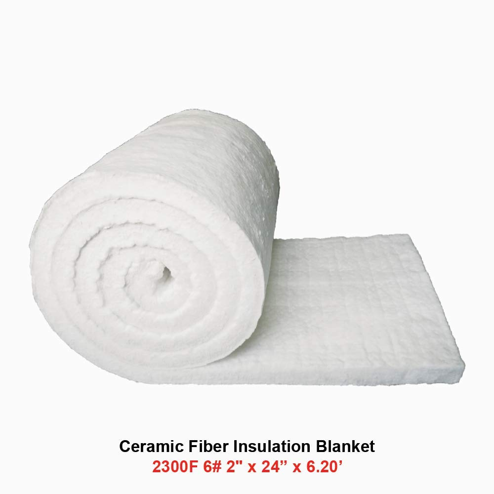 Ceramic Fiber Insulation Blanket 2300F 6# 2'' x 24'' x 6.20' for Wood Stoves, Fireplaces, Kilns, Furnaces