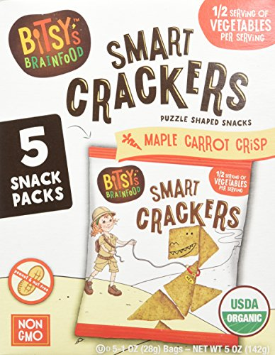 Bitsys Multi-Pack Organic Smart Crackers, Sweet Maple Carrot, 5 Count Snackpacks, Healthy Organic Nut-Free Snacks with Fruits and Vegetables for Kids