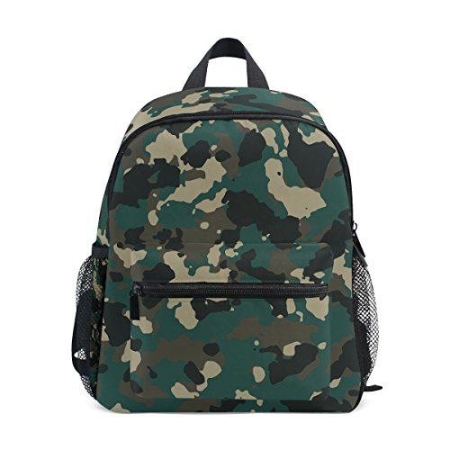 Age 3-8 Military Camo Camouflage Pattern Print Toddler Preschool Backpack, Children Kids Travel Lunch Bags for Boy Girl