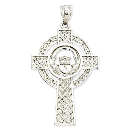Celtic Gold Claddagh Cross (14k White Gold Celtic Claddagh Cross Pendant)