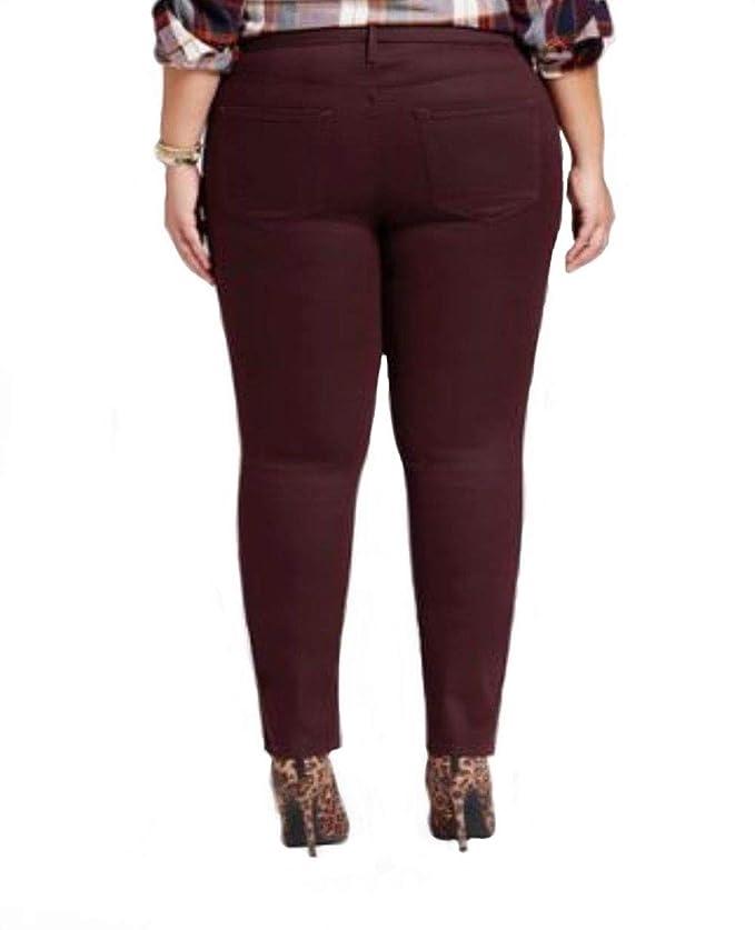 732db0e74b8 Ava   Viv Women s Mid Rise Plus Size Power Stretch Skinny Jeans - Black  Raspberry - at Amazon Women s Jeans store