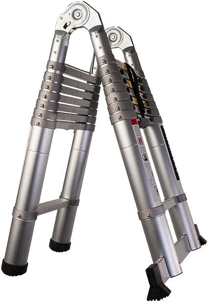 WORHAN® 3.2m Escalera Doble Telescopica 320cm PRO Multiuso Multifuncional CON ANILLOS DE ALUMINIO Plegable Tijera Aluminio Anodizado Normativa EN-131 AK3.2: Amazon.es: Bricolaje y herramientas