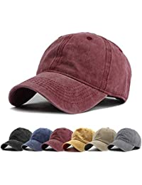 2bc908a17f7 Men Women Washed Twill Cotton Baseball Cap Vintage Adjustable Dad Hat