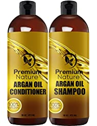 Argan Oil Shampoo and Conditioner Set - Sulfate Free All Natural Hair Repair Treatment, Clarifying Volumizing & Moisturizing, Color Safe, Gentle for Curly & Color Treated Hair (2 x 16oz)
