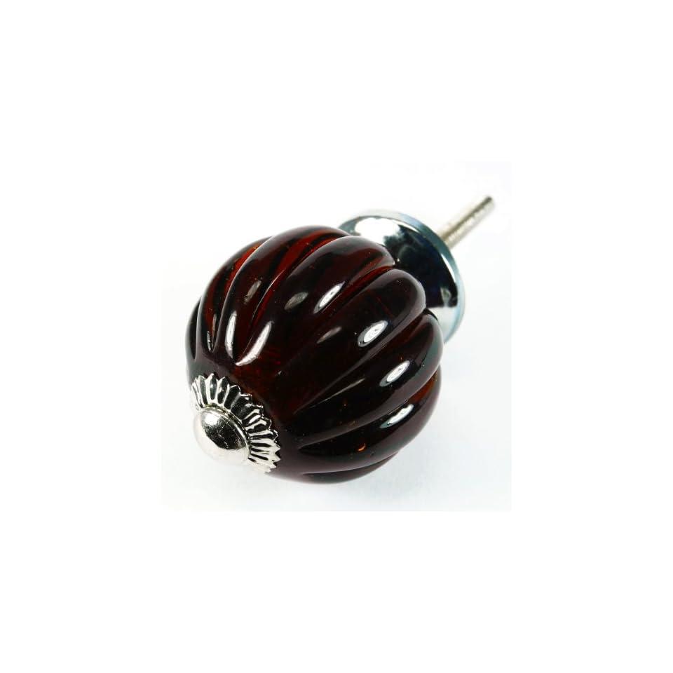 Dark Amber Pumpkin Glass Cabinet Knobs, Drawer Pulls & Handle Set/8pc