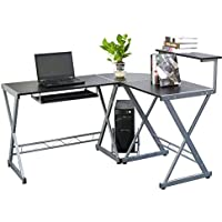 L-shaped Concise Four Boards Corner Computer Desk Laptop PC Table with Top Shelf Gray