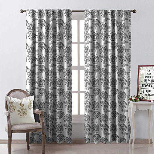 Hengshu Geranium Thermal Insulating Blackout Curtain Pelargonium Bloom Branches in Grunge Sketch Style Gardening Plants Tattoo Blackout Draperies for Bedroom W108 x L84 White Black Grey