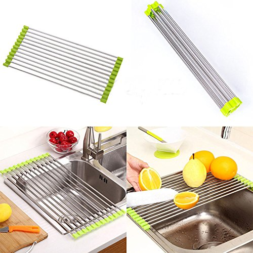 Foldable Kitchen Sink Rack Stainless Steel Dish Cutlery Drainer Drying Holder Useful Kitchen Tools