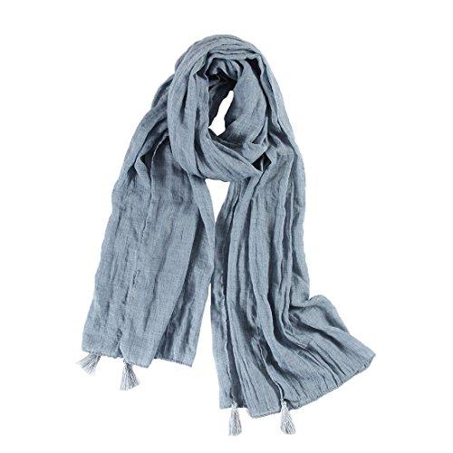UNIQUE 100% Ccoton Uni Bleu Doux Echarpe Châle Foulard Etole Chèche Pashmina Paréos Cache-maillots sarongs Robe De Plage Femme avec Frange
