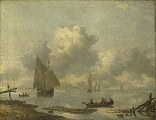 The Polyster Canvas Of Oil Painting 'Jan Van De Cappelle Vessels In Light Airs On A River Near A Town ' ,size: 16 X 21 Inch / 41 X 53 Cm ,this High Quality Art Decorative Prints On Canvas Is Fit For Laundry Room Decor And Home Decoration And Gifts