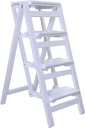 Escalera Plegable de 4 escalones, Escalera de hogar Silla de Comedor portátil Taburete con peldaños de Madera para niños y Adultos, Herramienta de huerto doméstico Máx. Altura 200kg: 92cm: Amazon.es: Hogar