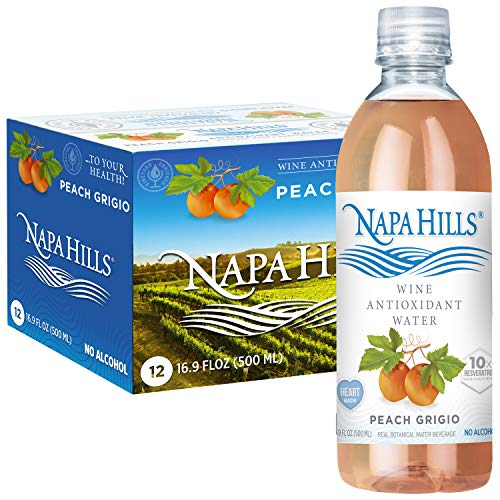 Napa Hills Wine Antioxidant Water - Peach Flavored Wine Water, Non-Alcoholic Resveratrol Enriched Drink - No Wine Taste, No Carbs, No Calories, Sugar Free (Peach Grigio, Pack of 12)