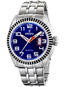 FESTINA F16482/2 - Reloj de caballero de cuarzo, correa de acero inoxidable color plata