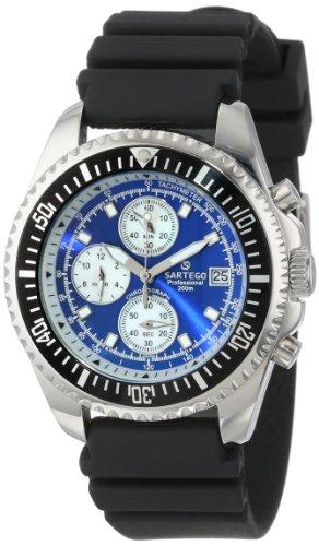 Sartego Men's SPC43-R Ocean Master Chronograph Analog Diver Quartz Blue Dial Mother-Of-Pearl Rubber Watch (Blue Chronograph Of Mother Pearl)