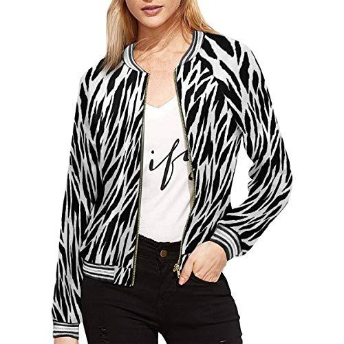 INTERESTPRINT Abstract Animal Print Zebra, Tiger Stripes, Lines Women's Casual Jacket Coat L (Zebra Print Jacket)