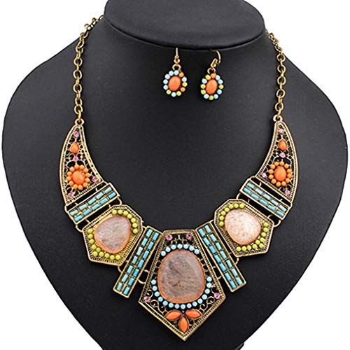 Polytree Womens Boho Colorful Hollow Statement Chain Choker Necklace Hook Earrings Set