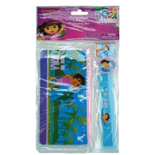 Nickelodeon Dora The Explorer 4 Piece Personalized Study Kit/Stationery Set, School Supplies with Ruler, Pencil Pouch, Sharpener, and ()