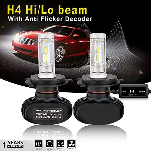 Supermoto Conversion (AUSI H4 9003 HB2 LED Headlight Bulb High Low Beams DRL All-In-One Conversion Kit Seoul Chip 8000LM 6500K Headlamp Bulb + Anti Flicker Error Free Canbus Decoder For Toyota Tacoma 4Runner Honda Civic)
