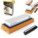 Tools & Hardware : Premium Knife Sharpening Stone 2 Side Grit 1000/6000 Waterstone | Best Whetstone Sharpener | NonSlip Bamboo Base & Angle Guide