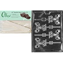 Cybrtrayd 45St25-A038 Moose Lolly Animal Chocolate Candy Mold with 25 4.5-Inch Lollipop Sticks