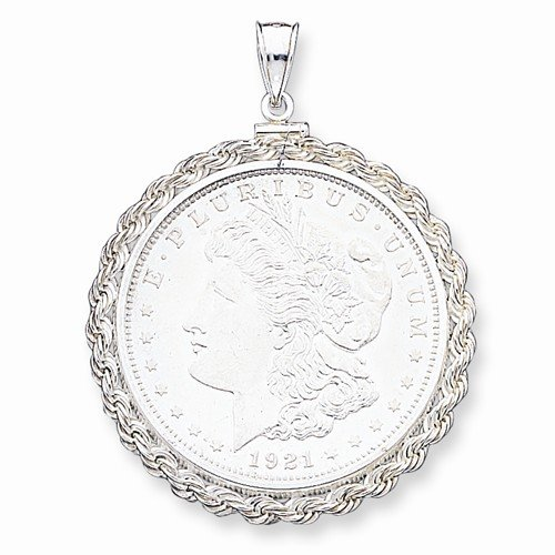 Solid 925 Sterling Silver 38.2 x 2.8mm Rope Coin Bezel Pendant (35mm x 23mm) (2.8 Mm Solid Rope)