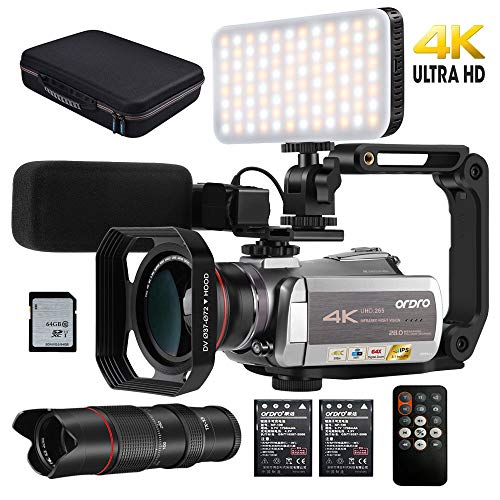 "Camcorder 4k Video Camera ORDRO H.265 4k 30fps Vlog Camera 1080p 60fps IR Night Vision Video Recorder 3.1"" IPS WiFi Camcorder with Mic, LED Light, Wide-Angle Lens, Telescope and Carrying Case (Gold)"