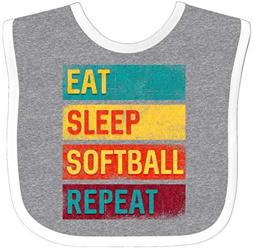 Inktastic - Softball Player Eat Sleep Softball Baby Bib Heather/White 344e4