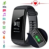 Fitness Tracker Watch with Heart Rate monitor, Cubot S1 Smart Band Bracelet Calorie Counter Wristband Sleep Tracker Activity Health Tracker Pedometer for Android 4.3 above or iOS 8.0 Smartphone, Black
