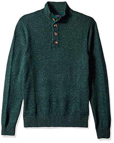 IZOD Men's Buttoned Mock Neck Solid 7 Gauge Sweater, Botanical Garde, Medium ()