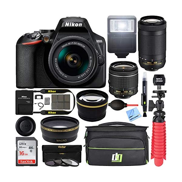 51pv7rWjvvL. SS600  - Nikon D3500 24.2MP DSLR Camera with AF-P 18-55mm VR Lens & 70-300mm Dual Zoom Lens Kit 1588 (Renewed) with 16GB…