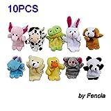 Fencia 10 Pcs Cute Soft Plush Velvet Animal Style Finger Puppets Set for Kids Children Gifts (Arrives before Christmas)