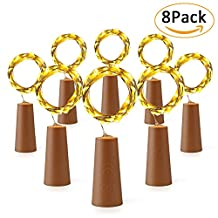 Qedertek 8 Pack Wine Bottle Lights with Cork, 20 LED 6.5ft Silver Wire Battery Operated Starry Fairy String Lights for Bottle DIY, Christmas, Wedding, Party and Indoor Decorations (Warm White)