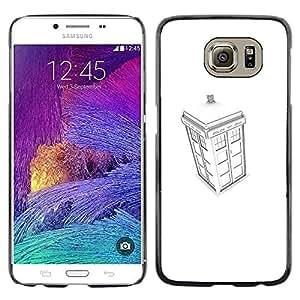 KLONGSHOP // Cubierta de piel con cierre a presión Shell trasero duro de goma Protección Caso - Blanca stand Policía - Samsung Galaxy S6 //