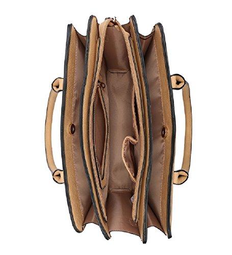 Day Briefcase Ladies Bag Stylish Multi Compartment MA36094 Khaki Women's Work Handbag q474F1IwP