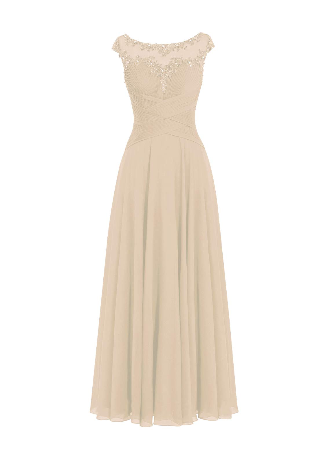 Mother of The Bride Dress Plus Size Formal Evening Gowns for Women Chiffon  Mother Dresses Champagne US8