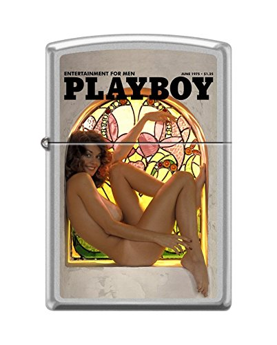 Zippo Playboy Cover June 1975 Pocket Lighter, Satin Chrome