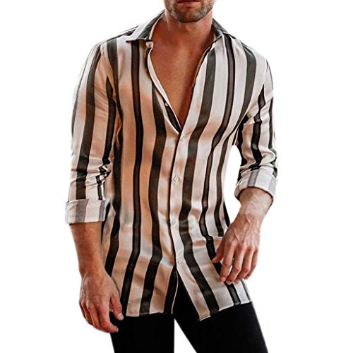 Men's Wrinkle-Free Classic Vertical Striped Long-Sleeved Shirt Black