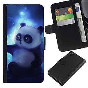 KingStore / Leather Etui en cuir / Sony Xperia Z3 D6603 / Oso de panda del dibujo del arte Magic Blue Light