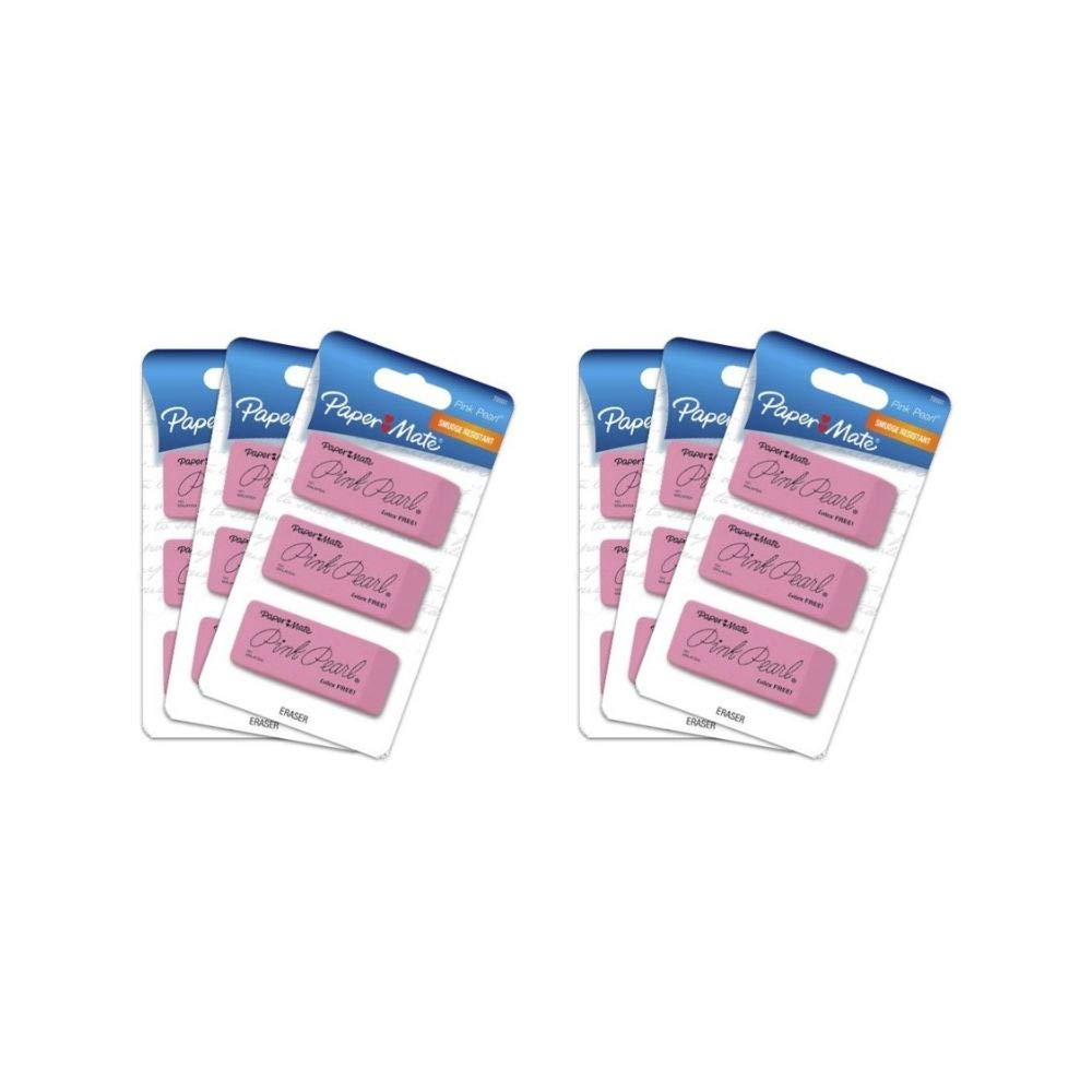 PaM Pink Pearl Erasers, Large, 3 Count (70501) (2 Pack of 3-Pack)