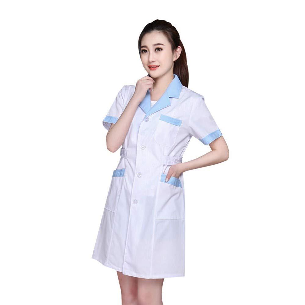 70b1c925ef9 Amazon.com: ESENHUANG White Coat Long Sleeve Doctor Dress Female Doctor  Dress White Coat Short Sleeve Men Slim Nurse Suit Clothes Uniform: Clothing